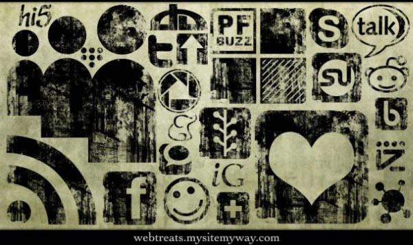 black ink grunge stamp icon set Free Social Media Icon Sets Best Of