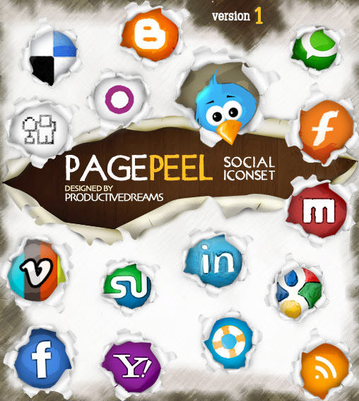 pagepeel icon set 1 Free Social Media Icon Sets Best Of