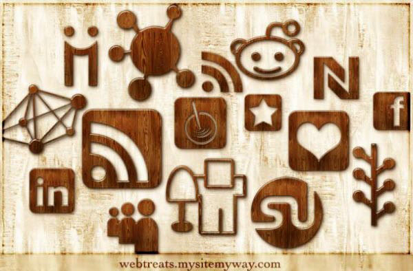 glossy waxed wood icon set Free Social Media Icon Sets Best Of