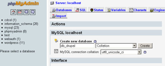 Create a MySQL Database for Drupal