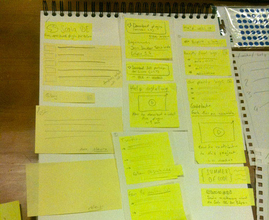 Wireframe using Post-it notes.