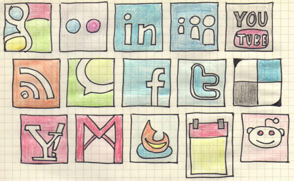 hand drawn icon set Free Social Media Icon Sets Best Of