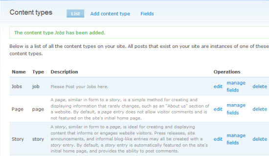 Create the Jobs content type