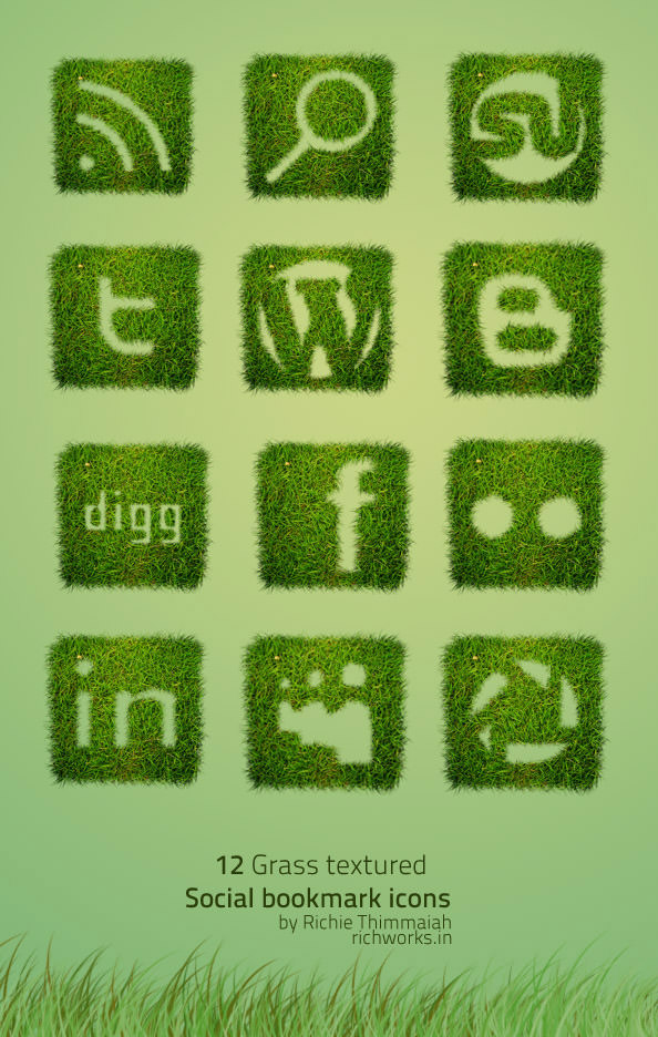 grass textured icon set Free Social Media Icon Sets Best Of