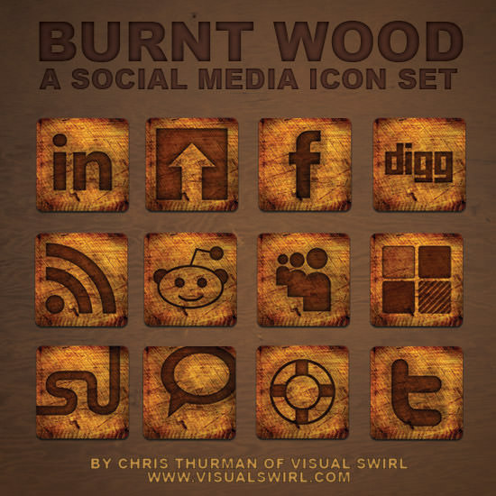 burnt wood icon set Free Social Media Icon Sets Best Of