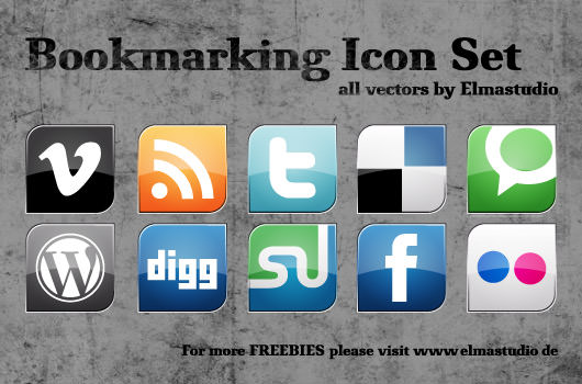 bookmarking icon set Free Social Media Icon Sets Best Of