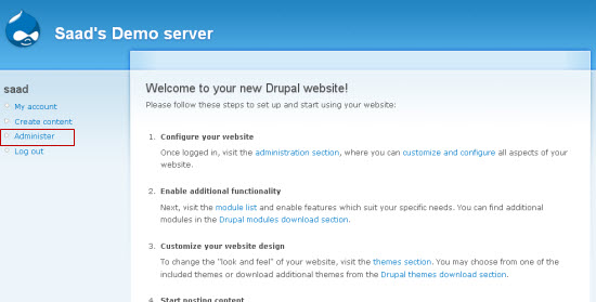 Log Into Drupal's Back-End