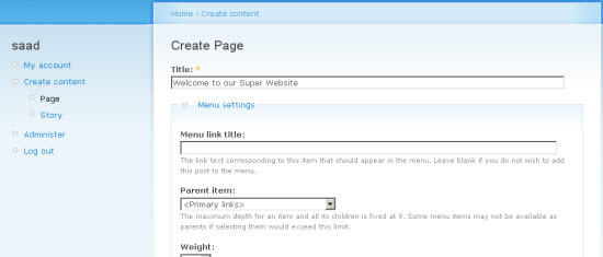 Setting Up Your Home Page