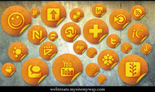 orange grunge stickers icon set Free Social Media Icon Sets Best Of