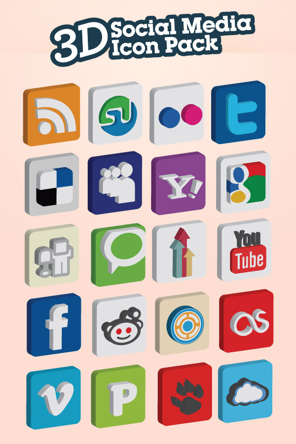 3d icon set Free Social Media Icon Sets Best Of