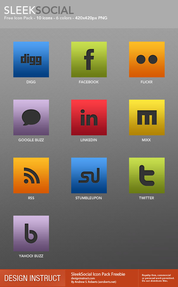 sleeksocial icon set Free Social Media Icon Sets Best Of