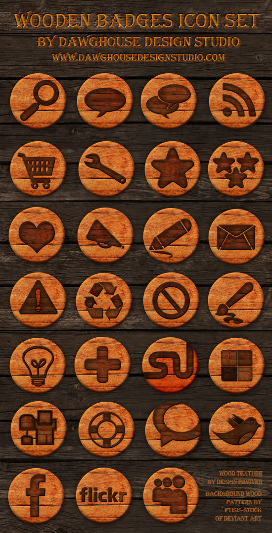 wooden badges icon set Free Social Media Icon Sets Best Of