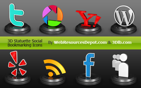 3d statuette icon set Free Social Media Icon Sets Best Of