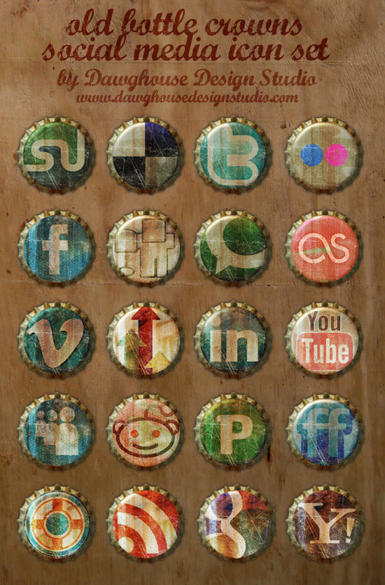 old bottle crown icon set Free Social Media Icon Sets Best Of