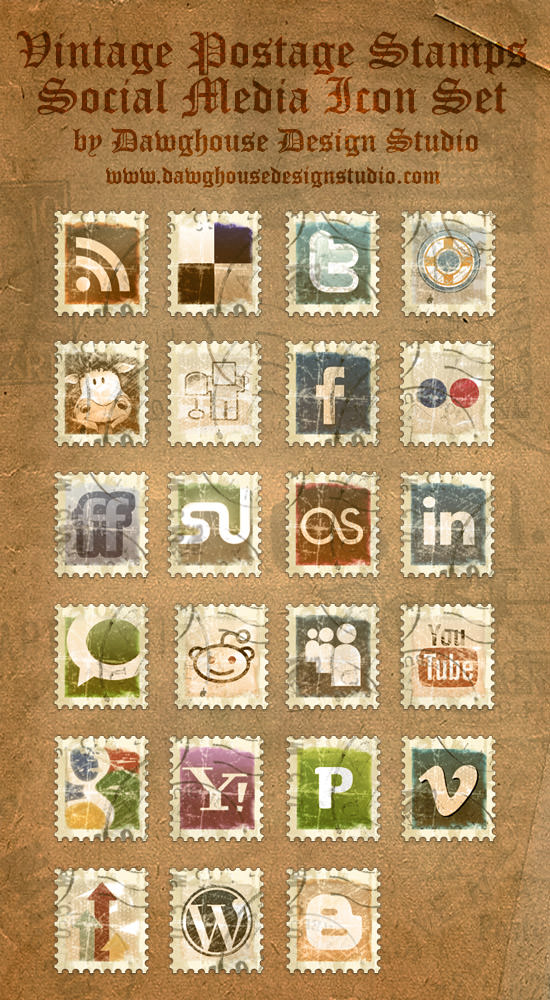 vintage stamp icon set Free Social Media Icon Sets Best Of
