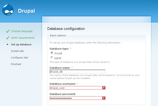 Install Drupal Using the Installation Wizard