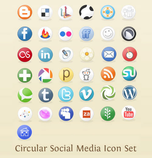 circular icon set Free Social Media Icon Sets Best Of